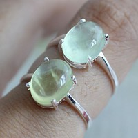 Handmade Prehnite Silver Ring
