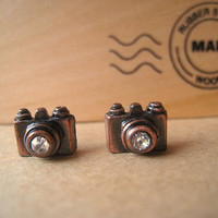 Camera Earrings Studs Copper Color by Bitsofbling on Etsy