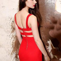Low-cut V-neck Halter Hollow Dress Red  S011652
