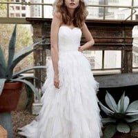 Strapless Dot Tulle Ball Gown with Ruffle Skirt - David's Bridal - mobile
