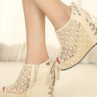 Lace Arma Wedge Shoes