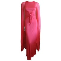 Bill Blass 1980&#x27;s coral silk sheath dress with cape