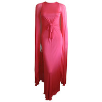 Bill Blass 1980's coral silk sheath dress with cape