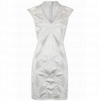 Bqueen Sand Washed Silk Satin Cotton Mesh Dress White K123B - Evening Dresses - Special Occasion Dresses - Apparel
