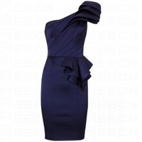 Bqueen One Shoulder Signature Dress Blue K085L - Evening Dresses - Special Occasion Dresses - Apparel