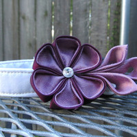 Dog Collar and Flower - READY TO SHIP Lavender and Plum Kanzashi Flower on White Dog Collar - purple Wedding Collar, wedding dog collar