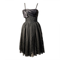 Mainbocher 1950s Chantilly Lace Dress