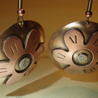 Lily disc earrings in a fusion of bronze copper and sterling silver