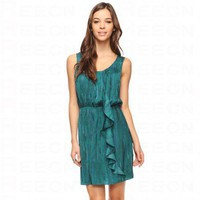 Bqueen Abstract Ruffle Dress Green F076G - Celebrity Dresses - Apparel