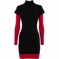 Bqueen Roll Neck Colourblock Tunic Red K338R - Celebrity Dresses - Apparel