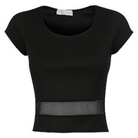 Cameo Rose Black Mesh Panel Crop Top