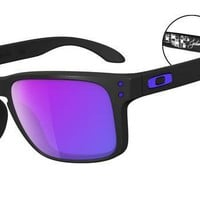 mysunglasses — New Polarized Holbrook Julian Wilson Signature Series Sunglasses Matte Black/Violet Iridium