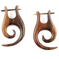Hand Carved Sono Wood Spiral With Horn Pin Earrings: Evolatree: Jewelry