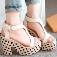 Womens T-strap High Block Heels Platform Polka Dots Sandals Shoes Casual 1lD