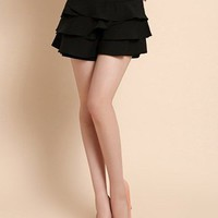 Black Asymmetrical Cascading Ruffle Shorts - Sheinside.com