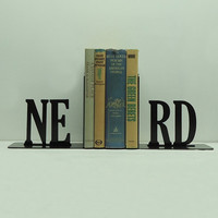 NERD Text Bookends FREE USA Shipping by KnobCreekMetalArts