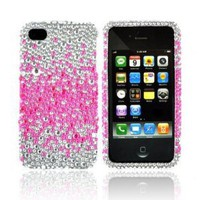 For Verizon AT&T iPhone 4S 4 Hot Pink Splash Silver Bling Hard Plastic Case: Cell Phones & Accessories
