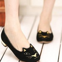 cute cat round toe flats from Bright91