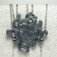 Puzzle Piece Necklace Set of 5 Slider Style  Pendants Silver Polymer Clay