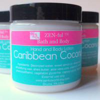 Caribbean Coconut Body Lotion by ZEN-ful, Hand Lotion,  Shea Butter Body Lotion, Paraben Free Lotion, Gift Ideas, skin care, Lotion 4 oz