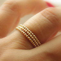 3 Beaded / Dotted 14k Gold Filled Stackable Rings (eternity bands)