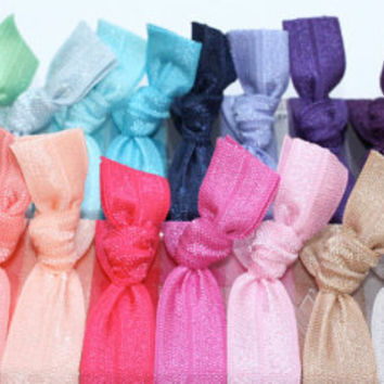 Elastic Hair Tie Bracelets (26) One of Each Color - Knotted Yoga Hair Ties - Emi Jay Style Cloth Hair Bands - Women's Hair Accessories