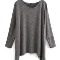Loose Bat-Wing Sleeve Irregular Hem T-Shirt