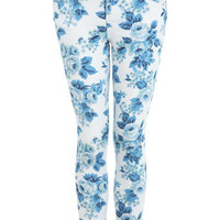 Blue Vintage Floral Print Jean
