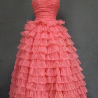 Perfect Pink Early 1960&#x27;s Prom Gown VINTAGEOUS VINTAGE CLOTHING