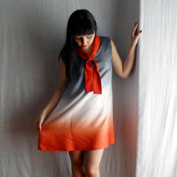 Sailor tunic dress in orangewhite and grey Ombrè by AliceCloset
