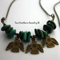 Thunderbird Necklace - Turquoise Necklace - Antiqued Brass And Turquoise - Tribal Necklace - Boho - Indie - Urban - Gift For Her - Trendy