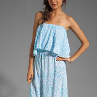 Indah Havi Strapless Tiered Maxi Dress in Padi Turquoise from REVOLVEclothing.com