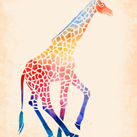 Watercolor Giraffe Stretched Canvas by Jacqueline Maldonado