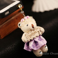 "1PC ""I Love You"" Sign Cute Teddy Bear Doll Earphone Charm Cap Anti Dust Plug for iPhone 5, iPhone 4, Samsung S3, Nokia"