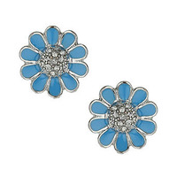 Enamel blue flower studs