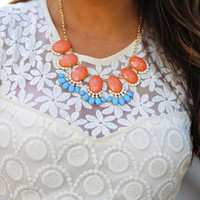 Fan Of Fringe Necklace: Coral/Blue | Hope's