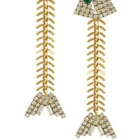 Elizabeth Cole Gold-plated Swarovski crystal fishbone earrings – 50% at THE OUTNET.COM