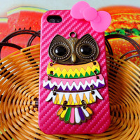 Fashion Hard Case Cover With Bronze  Owl silicone by feihong2012