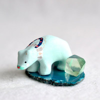 mint crystal mini adventure bear - spirit bear miniature sculpture set