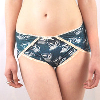 Teal tap panties with typewriter print lingerie