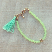 Pree Brulee - Mint Tassel Bracelet