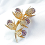 Vintage Lavender Rhinestone & Gold Filigree Brooch, Stem of 3-D Flowers