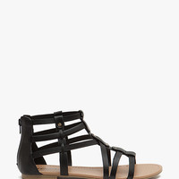 A'GACI Kells-S Gold Nail Head Trim PU Gladiator - SANDALS