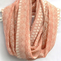 Peach Infinity Scarf. Circle scarf. Loop Scarf. Women Accessories