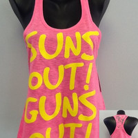 Racer tank w/ laced back- GUNS OUT
