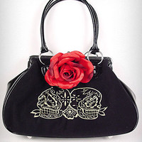 Velvet Sugar Skull Kiss Lock Purse