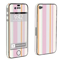Apple iPhone 4 or 4s Full Body Decal Vinyl Skin - Pink Stripes By SkinGuardz:Amazon:Cell Phones & Accessories