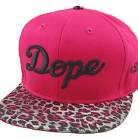 NEW VINTAGE DOPE 3D EMBROIDERY FLAT BILL SNAPBACK CAP HIP HOP HAT PINK CHEETAH  