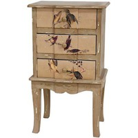 Rustic Peaceful Birds Three Drawer End Table