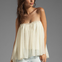 BLAQUE LABEL Strapless Ruffle Top in Ivory from REVOLVEclothing.com
